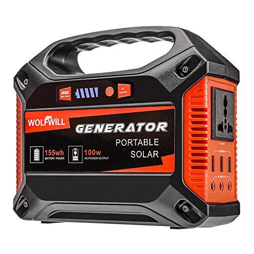 WOLFWILL Tragbarer Generator Wechselrichter Energiespeicher-Stromversorgung - 155Wh 42000mAh für Camping Outdoor (durch Solar Panel/Steckdose / Auto aufgeladen)