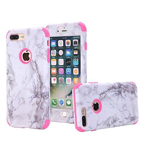 Shinyzone Hülle für iPhone 7 Plus Hülle,iPhone 8 Plus Marmor Hülle,3 in 1 Harteplastik + Weich Silikon Stoßfest Schwerlast 360 Grad Kratzfest Bumper Schutzhülle,Rose Rot