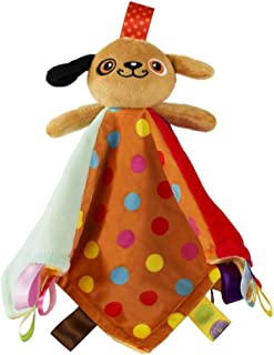Baby Taggies Blankie Stuffed Animal Security Blanket Brown Dog Puppy Toys for 0-3 Years Old Kids
