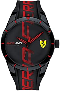 Ferrari Men's RedRev Quartz Plastic and Silicone Strap Casual Watch, Color: Black (Model: 830614)
