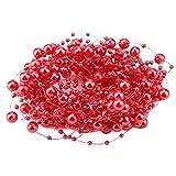 HERCHR Cadena de Perlas Artificiales de 10 M, Guirnalda de Cadena de Cuentas, Hilo de Pescar, Guirnalda de Perlas, decoración de Banquete de Boda(Rojo)