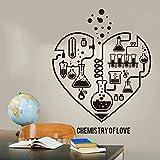 Química Ciencia Corazón Abstracto Pared Laboratorio Aula Geek Química Ciencia Día de San Valentín Etiqueta de la pared