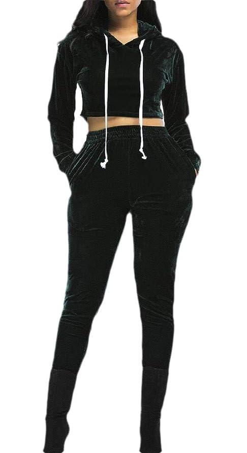 事業証言する敬礼女性プルオーバーパーカークロップトップドローストリングスウェットパンツスポーツトラックスーツ2ピース衣装セット