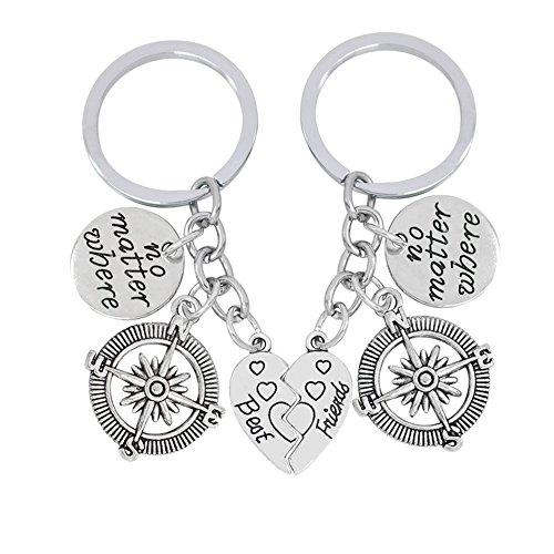 Galaxia Air 2pcs BBF Best Friends Key Chain Ring Set No Matter Where Compass Split Broken Heart Friendship Gift Unisex Key Chain Key Ring