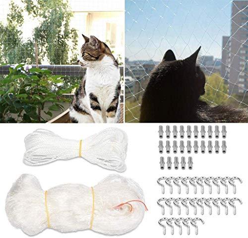 Red de Protección para Mascotas para Balcones y Ventanas, Red de Nailon para Protección contra Caídas de Gatos de 8 X 3 M, Red...