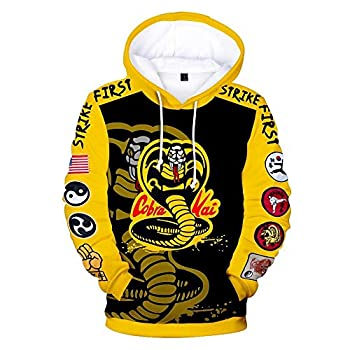 Karate Hoodie Cobra Kai Cosplay Costume 3D Print Pullover Sweatshirt  Large Color 1