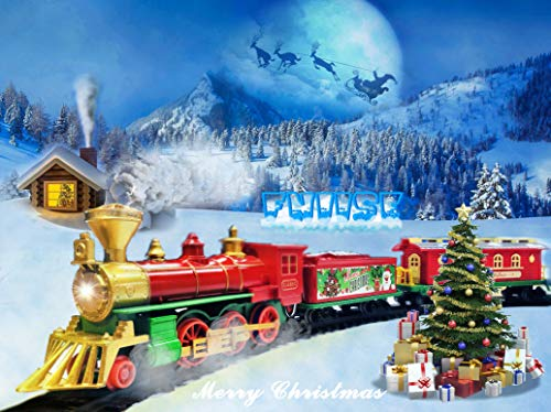 Fniise Classic Train Set for Kids Christmas Train Gift Set with Full Circle Train Track, Electric Rail Train and Christmas Tree Outdoor Indoor Toy (Children Over 3 Years Old)