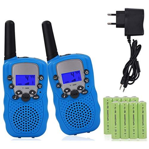 Miavogo 2 x Walkie Talkie Set für Kinder, Funkgerät mit Akkus PMR 3 km Reichweite Funkhandy, Blau