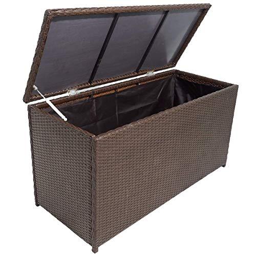 vidaXL Aufbewahrungstruhe Poly Rattan Braun Auflagenbox Gartentruhe Kissenbox