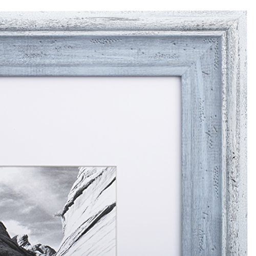 11x14 Picture Frame Distressed Blue - Matted to 8x10, Frames by EcoHome