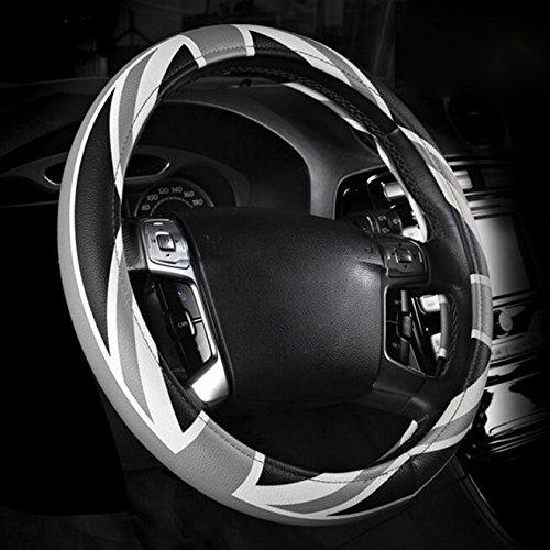 XuanMax Deporte Funda Cubierta del Volante Microfibra de Cuero UK Bandera Universal Respirable Sport UK Flag Auto Coche Leather Car Steering Wheel Cover 38cm - Gris