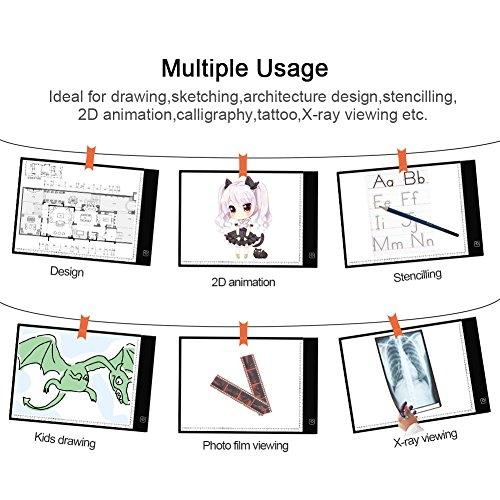 A4 Light Board Dimmable Brightness Portable Ultra-Thin Tracing Light Box,Cotanic LED Light Pad for Artists Drawing Sketching Animation,USB Power Cable 2 Magnet Included