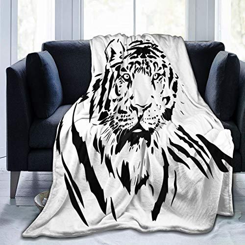 Manta mullida de rayas negras de un gran cazador escenas de la naturaleza del gato, hermosa bestia sublime ilustraciones digitales, manta suave para dormitorio cama edredón de 203 x 152 cm