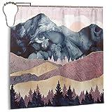 Jacklee Mauve Vista Duschvorhang 180 * 180cm Anti-Schimmel & Wasserabweisend Shower Curtain mit 12 Duschvorhangringen 3D Digitaldruck