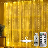 Cortina de luces,WOWDSGN 300LED 3mx3m Luces de cadena de cortina de cobre USB, 8 Modos de Luces, IP44 Impermeable para Exteriores Interiores Decoración de Navidad Fiestas