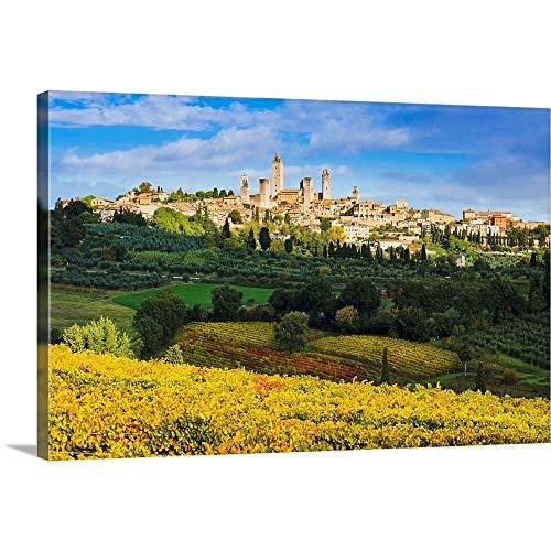 """GREATBIGCANVAS Vineyards and San Gimignano, Tuscany, Italy Canvas Wall Art Print, 24""""x16""""x1.5"""""""