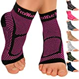 TechWare Pro Ankle Brace Compression Sleeve - Relieves Achilles Tendonitis, Joint Pain. Plantar Fasciitis Foot Sock with Arch Support Reduces Swelling & Heel Spur Pain. (Black/Pink, S/M)