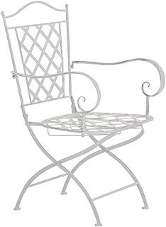 Silla de Jardín Adara en Hierro Forjado | Silla de Exterior Metálica con Reposabrazos | Silla de Terraza con 93cm de Altura | Color:, Color:Blanco Envejecido