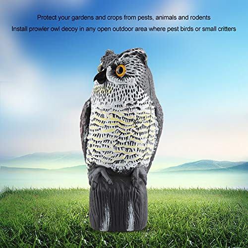 Sugoyi Nature Fake Horned Owl Decoy, Fake Owl Decoy, for Teaching Aid Your Gardens and Crops Open Outdoor Area Garden Decor