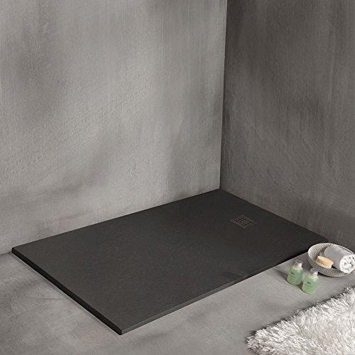 Sanycces douchebak van mineraalhars extraplat - Strato - zwart - 90 x 120 cm