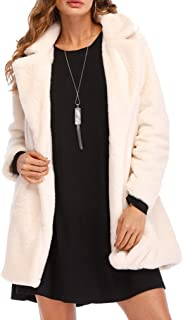 Nhicdns Womens Long Sleeve Winter Warm Lapel Fox Faux Fur Coat Jacket Overcoat Outwear with Pockets