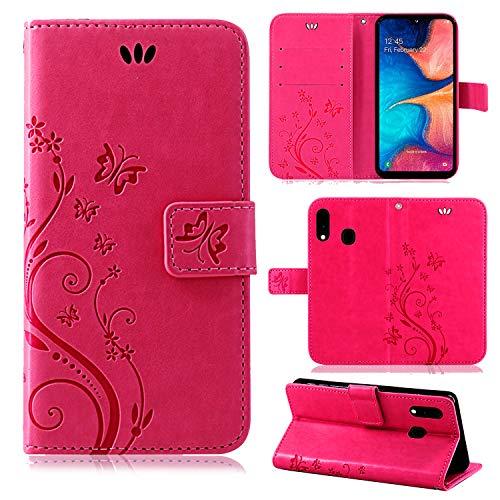 betterfon   Flower Case Handytasche Schutzhülle Blumen Klapptasche Handyhülle Handy Schale für Samsung Galaxy A20e SM-A202 Pink