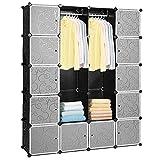 Hengda 20 cubi fai da te, sistema di scaffalatura in plastica, guardaroba con ante e armadietti, colore nero, 180 x 142 x 37 cm