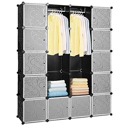 Hengda 20 Würfel DIY Regalsystem Kleiderschrank Offen Kunststoff Garderobe mit Türen Garderobenschrank Schwarz 180 * 142 * 37CM
