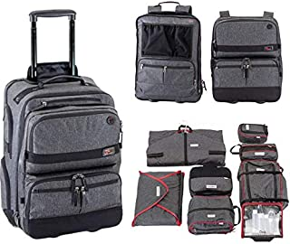 Onli Travel All In One Bundle: complete 3 part modular rolling pack and complete set of packing cubes