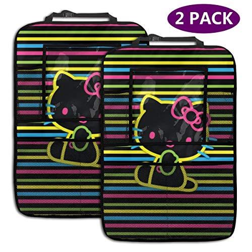 TBLHM Hello Kitty Lot de 2 Sacs de Rangement colorés pour siège arrière de Voiture avec Support pour Tablette