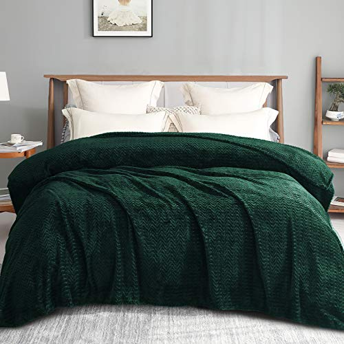 """Exclusivo Mezcla Queen Size Jacquard Weave Wave Pattern Flannel Fleece Velvet Plush Bed Blanket as Bedspread/Coverlet/Bed Cover (90"""" x 90"""", Forest Green) - Soft, Lightweight, Warm and Cozy"""
