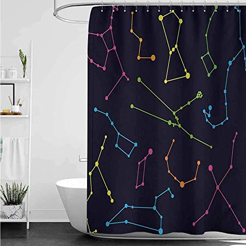 ABRAN Cortina de baño para baño Constelación única Colorido Ilustración astronómica Ciencia Osa Mayor Menor Polaris Celestial Multicolor