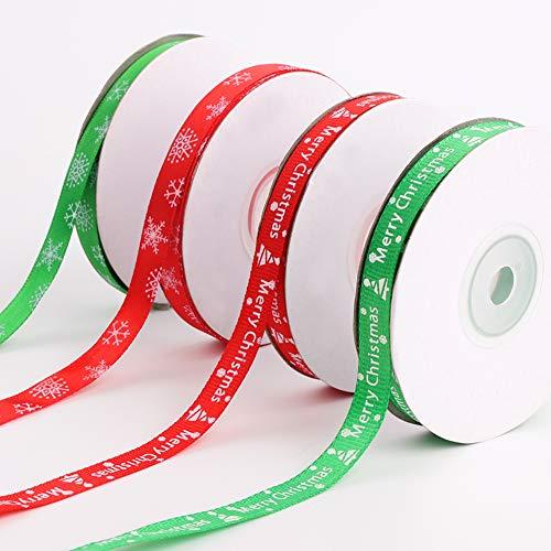 Cinta de Raso de Navidad Satén 100 yardas Rojo Verde Árbol de Navidad Copos de nieve Cinta de tela cinta satinado Merry de Navidad para regalos de bricolaje,Lazos para el cabello,Tela artesanal,Boda