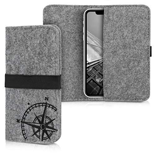kwmobile Filz Tasche für Smartphones - mit Gummiband - Handy Filztasche Schutztasche Kompass Vintage Schwarz Hellgrau - 14,4 x 7,5 cm Innenmaße