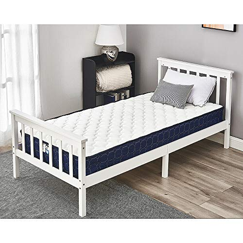 Single Bed with Mattress Solid Wood Bed Frame 3ft White Wooden Bed with Sprung Memory Foam Bed Mattress For Adults, Kids, Teenagers