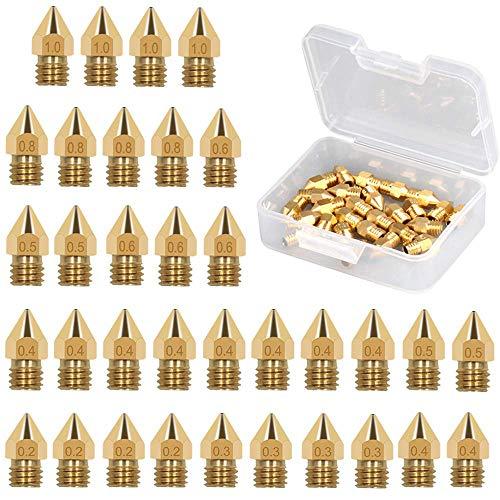 JEZOMONY Boquillas de Impresora 3D, Boquillas de Extrusora para MK8 0.2 mm, 0.3 mm, 0.4 mm, 0.5 mm, 0.6 mm, 0.8 mm, 1.0 mm, con Caja de Almacenamiento Gratuito (Paquete de 34)