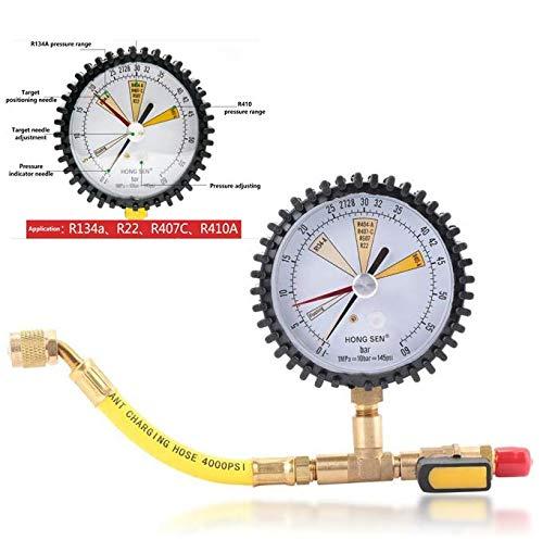 Manometer,Pressure Gauge Luftkühlungs Stickstoff Stickstoffdruck Test Manometer Drucktest Tabelle, für R134a, R22, R407C, R410A,Druckbereich -1~60bar,Kopfdurchmesser 80mm,sehr hohe Qualität