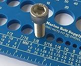 Marine Bolt Supply Nut, Bolt & Screw Gauge Standard & Metric Coarse & Fine Diameter, Length & Thread Pitch (Blue)