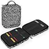 Arteza Pencil Case Organizer, 64 Elastic Slots, Black & White Pattern, for Adults, Boys, Girls, Big Capacity, Holds Up to 205 Pencils, Art Supplies Suitable for Pens & Markers
