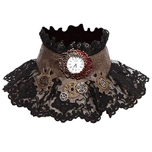 RQ-BL SteampunkGothic halskroos met horloge halssieraad ketting kropband vintage