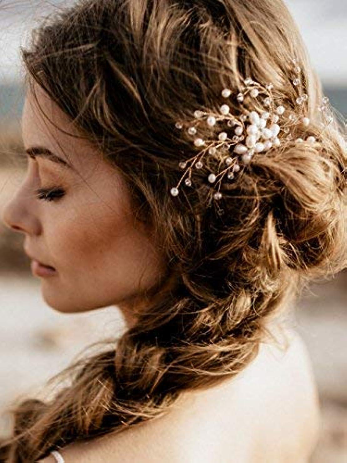 宣言荒廃するまばたきFXmimior Vintage Bridal Women Vintage Wedding Party Hair Comb Crystal Vine Hair Accessories [並行輸入品]