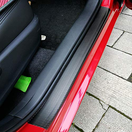 4Pcs Car Door Sill Protector,Door Sill Scuff Plate Cover Carbon Fiber Stickers Bumper Protector,Car Interior Accessories Cover Existing Scratch and Door Anti Scratch (4D Black)