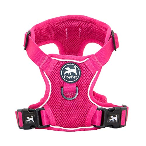 PoyPet Reflective Soft Breathable Mesh Dog Harness No Choke Double Padded Vest Adjustable(Fuchsia,M)