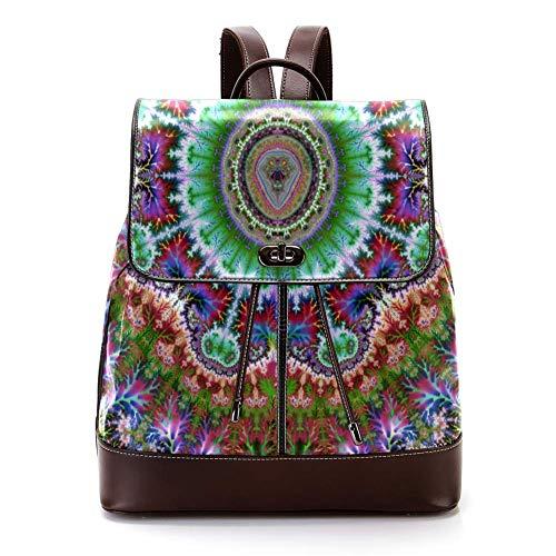 TIZORAX Mandala PU Leder Rucksack Mode Schultertasche Rucksack Reisetasche für Frauen Mädchen