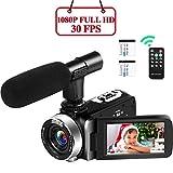 Videocámara Videocámara 1080P Full HD 30FPS 16X Zoom Digital Vlogging Videocámara con micrófono 24MP con 3 Pulgadas IPS 270 Grados Rotación Videocámara