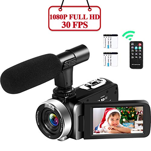 Camcorder Videokamera 1080P Full HD Camcorder 30FPS 16X Digital Zoom Vlogging Videokamera mit Mikrofon 24MP mit 3 Zoll IPS 270 Grad Rotationsbildschirm Camcorder