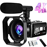 Video Camera 4K Camcorder 48MP Image Vlogging Camera with Wi-Fi...