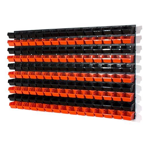 156 tlg. Wandregal Regal InBox Gr.1 schwarz orange Werkstatt Lochwand Starke