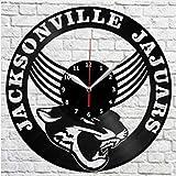 WAGUZA Jacksonville Jaguars Vinyl Clock Record Reloj de Pared Decoración Fan Art Home