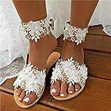 CTEJ Sandalias de Verano para Mujer Sandalias Bohemias con Flores de Diamantes de imitación cómodas Sandalias de Punta Abierta Impermeables Zapatos para Playa al Aire Libre,Blanco,43